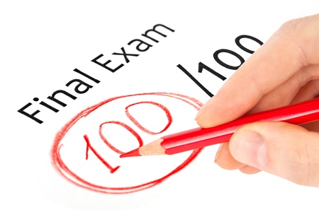 Final exam marked with 100  isolated on white