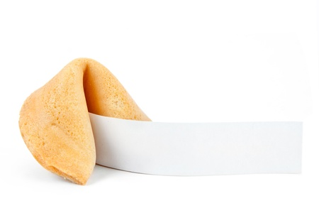 Fortune cookie with blank slip isolated on white background