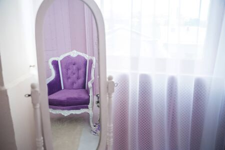 Close Up Of Violet Velvet Sofa And