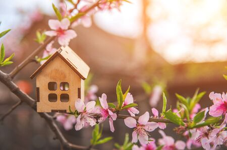 Photo pour The concept of the beginning of spring. Miniature house on a flowering branch close-up and copy space. Wooden house and flowers as a postcard for the holiday. - image libre de droit
