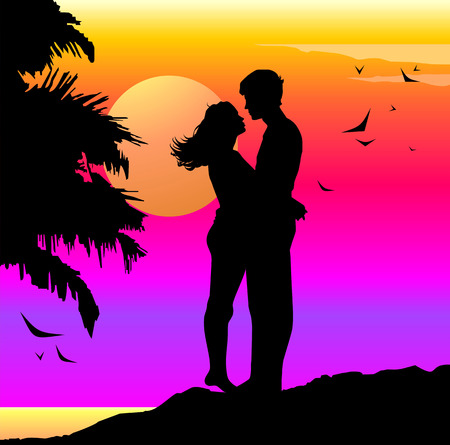Ilustración de Romantic illustration with lovers on a sunset - Imagen libre de derechos