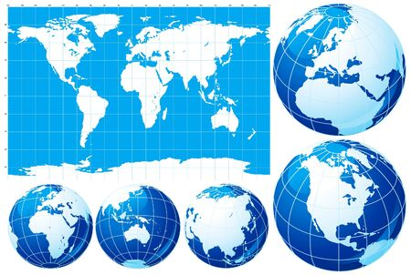 Set of World map  and five kinds of globe