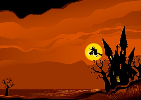 Illustration pour Halloween background. Witch flying on broom from her house. - image libre de droit