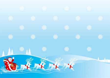 Illustration pour Santa Claus goes with gifts on sledge with reindeers - image libre de droit