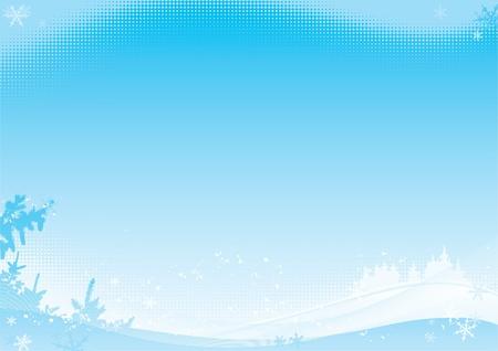 Illustration pour Winter background. Vector illustration with winter horizontal Landscape with fir trees - image libre de droit