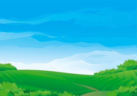 Horizontal Background with Summer meadows During sunny good weather