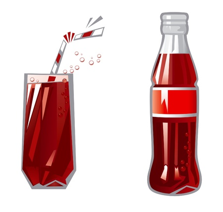Glass and Bottle  Vector Illustration of glass and Bottle with dark red beverage