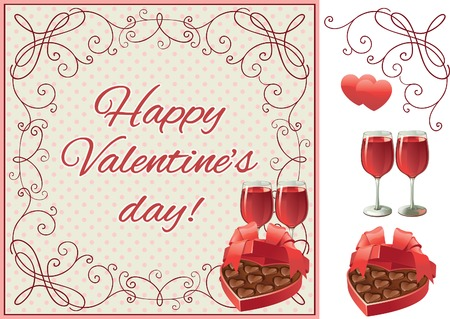 Happy valentine\'s day. Vector set of two wineglasses with Red wine and heart shaped box of chocolates candy on ornate border