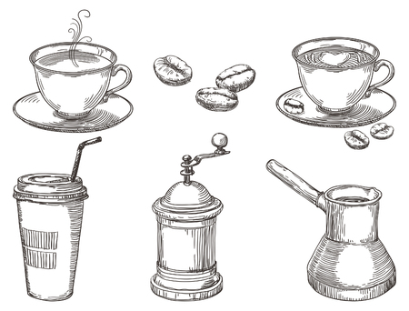 Illustration pour Coffee things. Vector hand drawn set of coffee at engraving style - image libre de droit