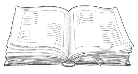 Illustration for Open retro book. Vector of isolated old  book at engraving style. - Royalty Free Image