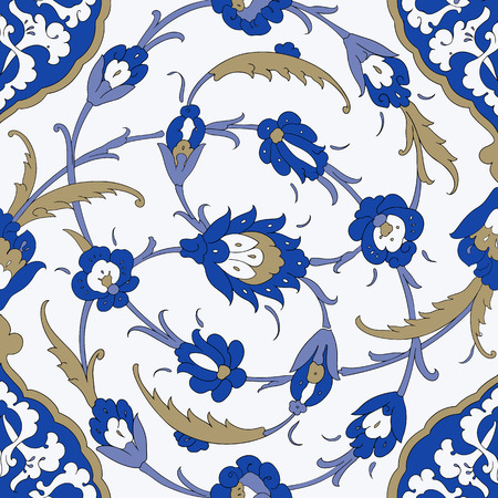 Illustration pour Traditional Arabic ornament seamless. Floral Ornamental pattern. Iznik .Vector. Background - image libre de droit