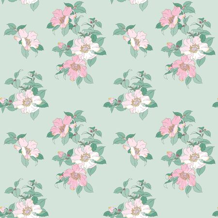 Modern floral seamless pattern for your design. Print on paper or textile. Desktop wallpaper. Vector illustration. Background.のイラスト素材