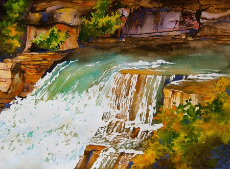An original watercolor painting of a waterfall landscape, near Markham, Ontario, Canada