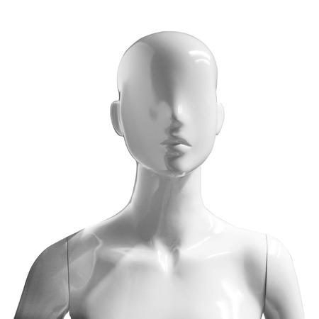 white female mannequin model isolated on white background