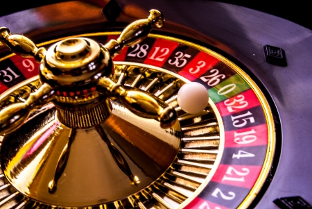 roulette game with game table and green poker chips