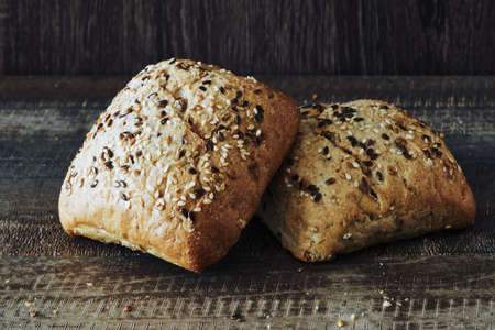 Foto für Wholemeal, rye, seed, nut and sesame buns and rolls for a breakfast with jam and coffee - Lizenzfreies Bild
