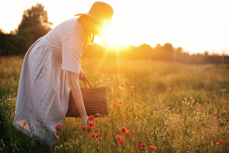 Photo pour Stylish girl in linen dress gathering flowers in rustic straw basket, walking in poppy meadow in sunset. Boho woman in hat relaxing in warm evening sunlight in summer field - image libre de droit