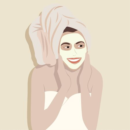 Illustration pour Young happy woman in towel applying face cream and smiling. - image libre de droit