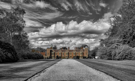 Blickling Hall, the former residence of Anne Boleyn  The black and white surround of this picture emphasises the history leading the eye towards the impressive modern day facade