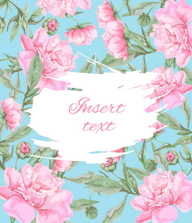Illustration pour Postcard template with pink peonies on a blue background with place for text. - image libre de droit