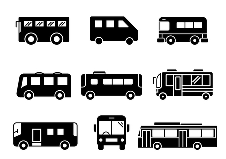 Illustration for solid icons set, transportation, Bus, vector illustrations - Royalty Free Image