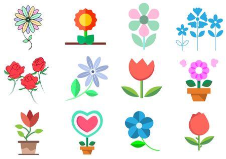 Illustration pour flat icons for flowers,vector illustrations - image libre de droit