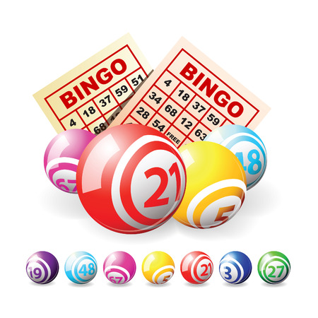 Bingo or lottery balls and cards isolated over white
