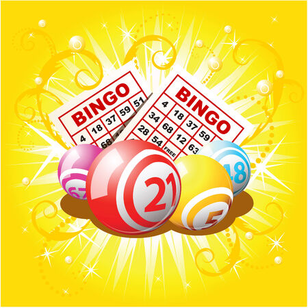 Bingo balls and cards on golden background