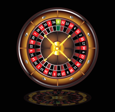 brown roulette wheel isolated over black background