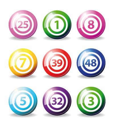 set of colorfull bingo balls isolated over white