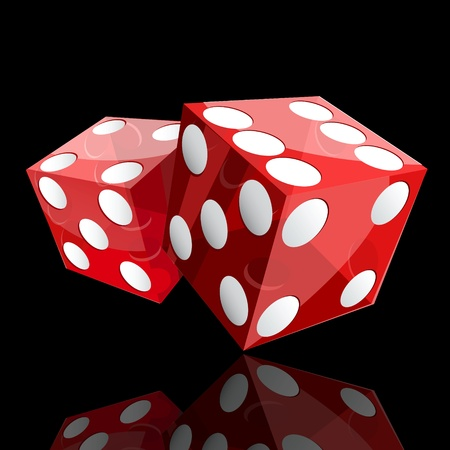 two red dice cubes on black background