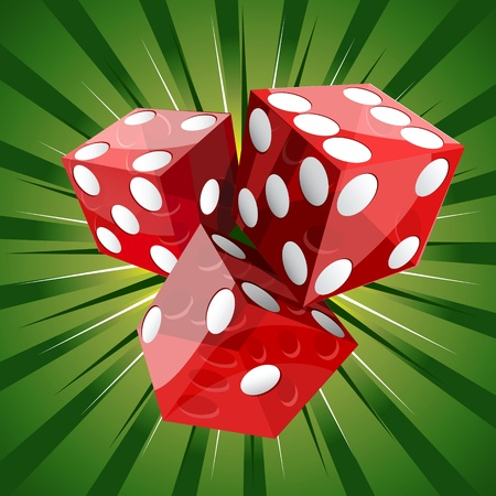 Casino craps red dice on green background
