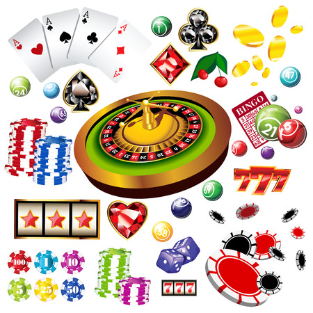 The set of vector casino elements or icons including roulette wheel, playing cards, chips, dice  and more