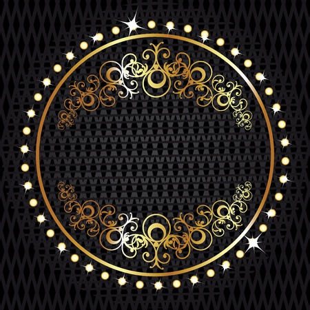 Illustration for Golden royal lable on black background with corners - Royalty Free Image