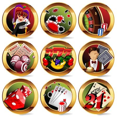 casino or gambling icons set.