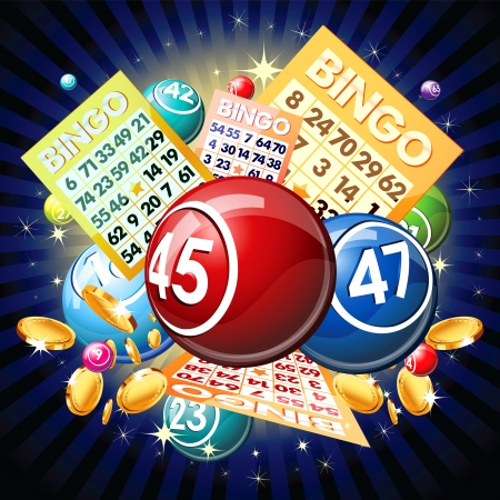 Bingo balls and cards on golden background.
