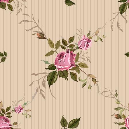 Illustration pour Vintage Seamless Shabby Chic pattern with roses - image libre de droit
