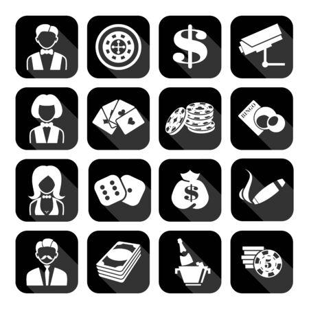 The set of flat monochrome casino icons for slots. Slot machine signes