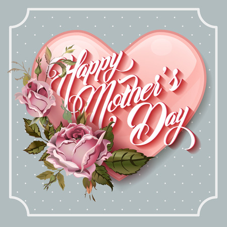 Illustration for Happy Mothers Day vintage Typographical Lettering Greeting card - Royalty Free Image