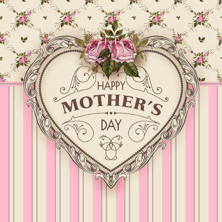 Illustration pour Happy Mothers Day. Holiday Festive Vector Illustration With Lettering And Vintage Ornate heart. Mothers day greeting card with retro styled roses. Shabby chic design. - image libre de droit