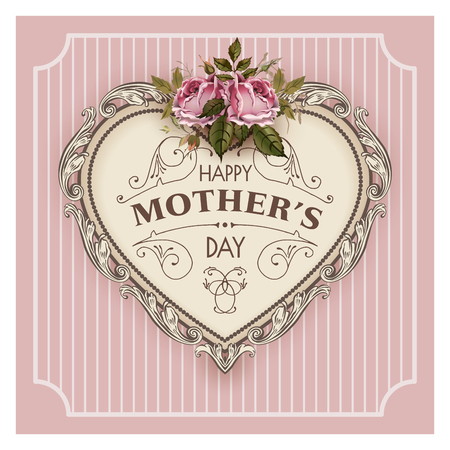 Illustration for Happy Mothers Day. Holiday Festive Vector Illustration With Lettering And Vintage Ornate heart. Mothers day greeting card with retro styled roses. Shabby chic cute design. - Royalty Free Image