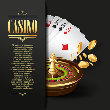 Casino background. Vector Poker illustration. Gambling template. Casino design with roulette wheel and  playing cards. Four aces. Casino banner. Casino logo. Casino flyer. Vector casino gambling illustration.