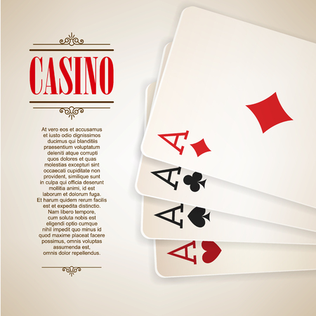 Casino poster background or flyer. Casino invitation or banner template With Playing Cards . Poker Game design. Playing casino games. Four Aces. Vector illustration.