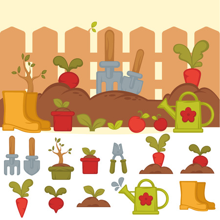 Tools For Working In Garden Banner With Summer Garden Landscape In Cartoon Style Concept Of Gardening Vector Illustration Royalty Free Vector Graphics