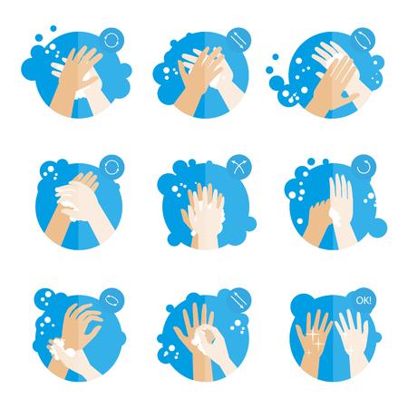 Ilustración de Washing hands properly - medical instructions for health. Clean hygiene procedure with soap. Set of fat icons. Isolated vector illustrations - Imagen libre de derechos