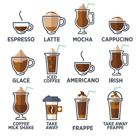 Illustration pour Coffee types or kinds set. Vector Illustration - image libre de droit
