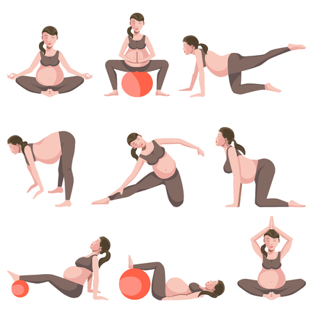 Illustration pour Yoga for Pregnant Women Icons Collection on White - image libre de droit