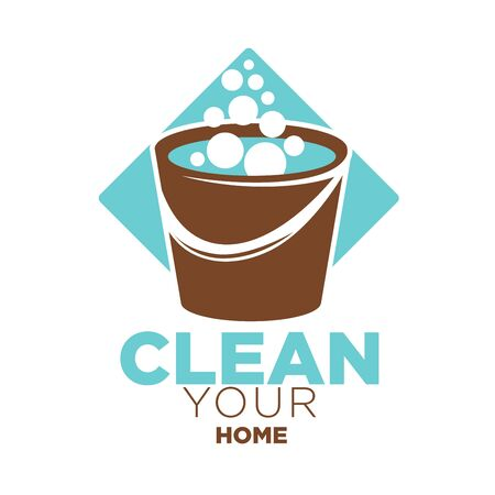 Clean your home logo label with brown bucket full of soap bubbles against blue rhombus isolated on white. Company for cleaning buildings and things colorful closeup badge vector flat poster