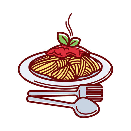 Hot delicious spaghetti with fresh tomato sauce on plate with fork and spoon isolated cartoon vector illustration on white background. Italian traditional food with cutlery for convenient eating.