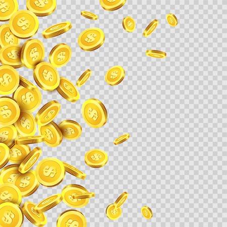 Illustration pour Gold coins rain falling or golden money dollar or cent metal coin on transparent background. Vector cash jackpot or fortune money fall splash - image libre de droit